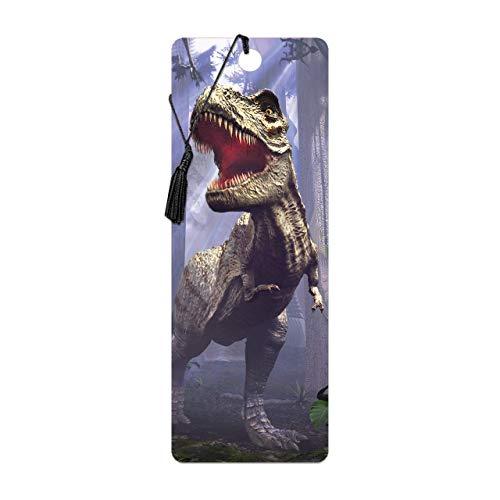 3D LiveLife Lesezeichen - T-Rex-Szene von Deluxebase. Ein Dinosaurier-Lesezeichen mit linsenförmigen 3D-Kunstwerken, lizenziert von dem bekannten Künstler David Penfound