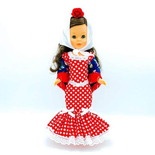 Folk Artesanía Set Vestido Regional, Mantilla y Percha Chulapa Madrileña para muñeca...