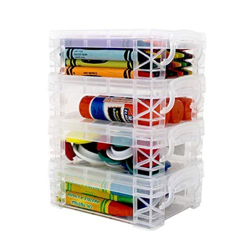 Storage Box, School Supplies Crayon Box, Clear Storage Organizer - Stackable Boxes - 4 Pack