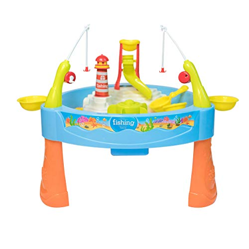 JoyKip Fishing Sand and Water Play Table for Kids - 2 in 1 Magnetic Water and Sand Play Pond Table, - Perfect for Indoor and Outdoor Play - Learning Educational Toy with Lighting and Sound Effects