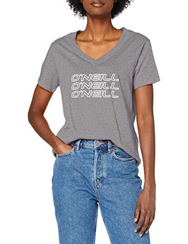 O'NEILL Triple Stack v-Neck T-Shirt Camiseta, Mujer, Silver Mel, Extra-Small