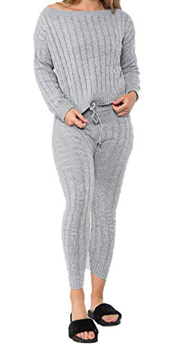 celebmodelook QS43 Lounge wear Womens Set 2 Piece Co ord Ladies Tops and Bottom Jogger Tracksuits ML G75 CHUNKY Knit Grey