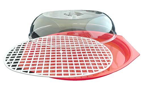 LCQI - Vassoio per scongelare alimenti, con contenitore in plastica e coperchio a griglia per scongelamento rapido rosso