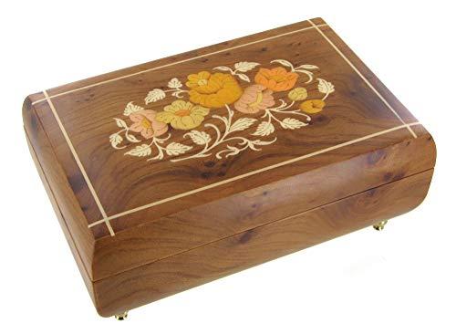Caja de música para joyas / joyero musical de madera con bailarina y marquetería flores - El vals del emperador (J. Strauss)