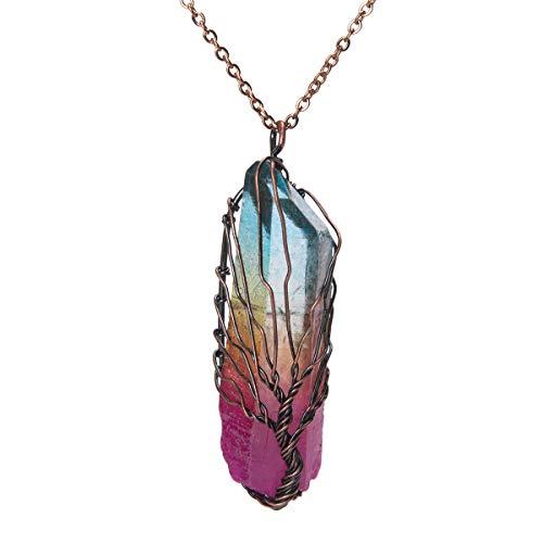 Bivei Tree of Life 7 Chakra Gemstone Copper Wire Wrap Irregular Clear Quartz Point Crystal Pendant Necklace(Bronze Titanium Coated Multi Color #1)