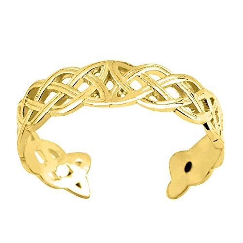 Zehenring, 14 Karat Gelbgold, keltischer Knoten, gewebtes Design, verstellbar, 4 mm