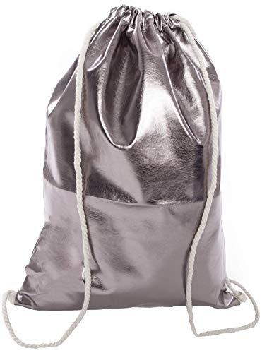 Beutel Aufdruck Tasche Rucksack Jutebeutel Muster Hipster Turnbeutel Gym Stringbags Bag, Unisex (Grau/Metallic)