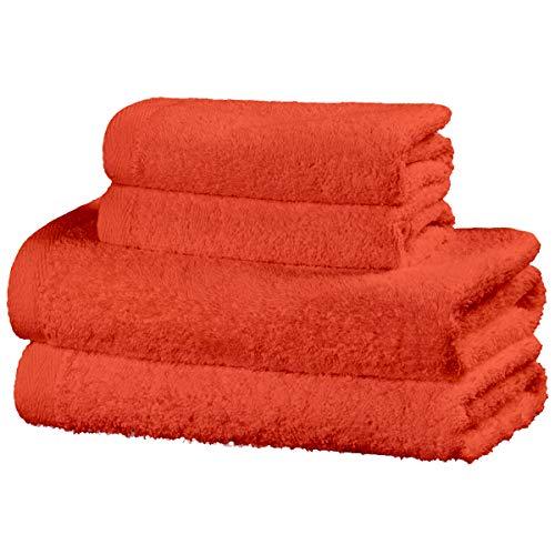 Viste tu hogar Juego de 4 Toallas Hechas 100% de Algodón, Incluye 2 Toallas de Baño y 2 de Manos, Suaves y Absorbentes, Ideales para Uso Diario y Decoración, en Color Naranja.