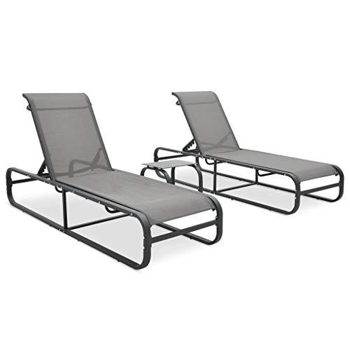 vidaXL Chaises Longues 2 pcs avec Table Bain de Soleil de Patio Transat de Jardin Piscine Terrasse Extérieur Textilène et Aluminium