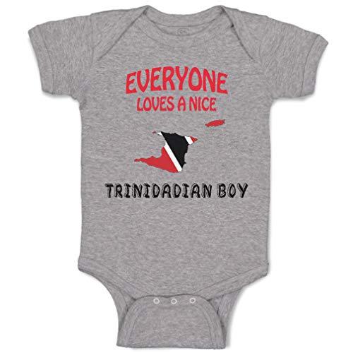 Custom Baby Bodysuit Everyone Loves Nice Trinidadian Boy Trinidad Tobago Funny Cotton Boy & Girl Baby Clothes Oxford Gray Design Only Newborn