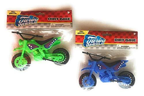 Turbo Wheels Toy Dirt Bike Motocross Mini Motorcycle Game Sets( Green & Blue )