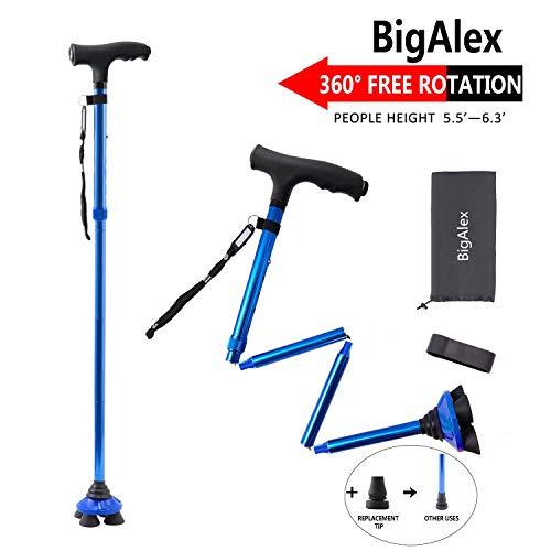 BigAlex Folding Walking Cane with LED Light,Pivoting Quad Base,Adjustable...