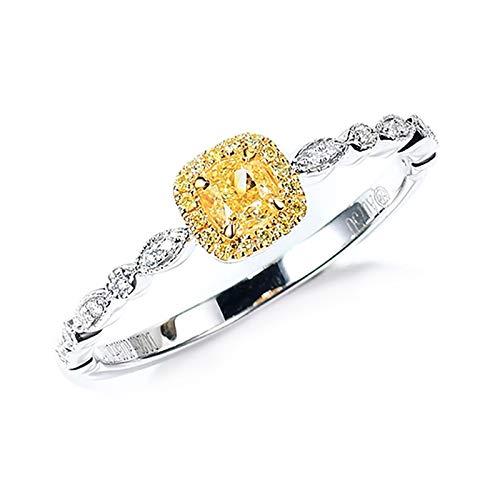 KnBoB Damen 0.2ct Diamant Ringe Kissen Form Quadrat/Oval/Tropfen 18 Karat Weißgold Ehe und Verlobungsringe Gr. 50 (15.9)