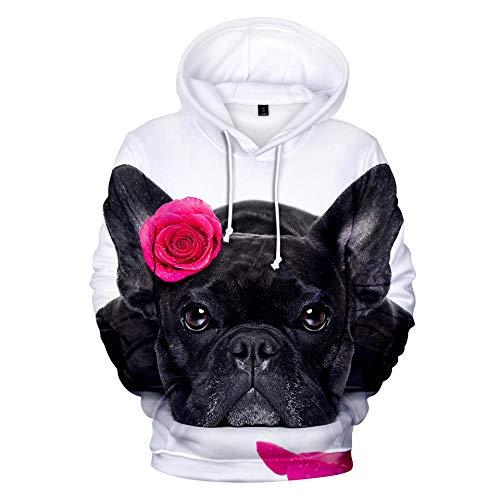 Hooded Casual 3D Printing Hoodies,Leuke Zwarte Franse Bulldog en Rode Roos Op Witte Mode Sweatshirts 3D Printing Hoodie Eye-catching Truien met Kangoeroe Pockets