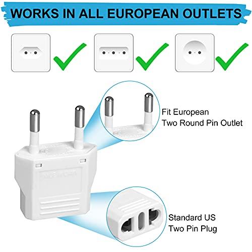 6 Pack European Plug Adapter, US to Europe Plug Adapter, European Adapter Type C Plug Adapter, Travel Adapter Europe, European Outlet Wall Plug Adapter Power Converter (White)