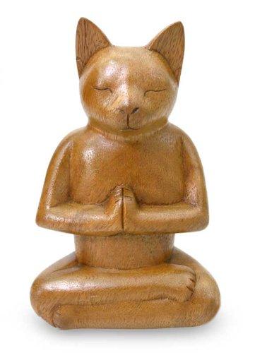 NOVICA Brown Animal Themed Suar Wood Sculpture, 6.5' Tall 'Cat in Deep Meditation'