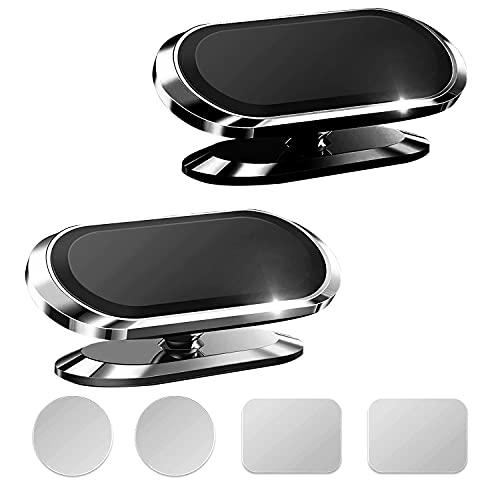Qianyou 2 Pack Soporte Magnetico Móvil para Coche, 360°Rotación Iman Coche Movil para Teléfono, Soporte Movil Coche para Salpicadero para iPhone 12 11 Pro XS MAX XR X 8 7, para Samsung (Negro+Plata)