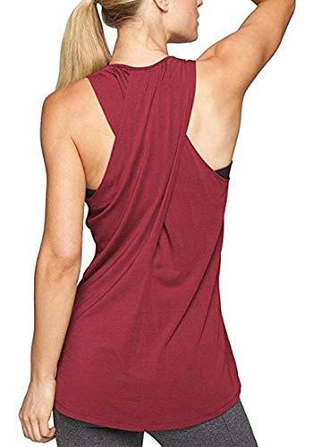 Lofbaz Dama Ejercicio Camisa Deportiva Yoga de Espalda Cruzada Camiseta Cruzada - Rojo Vino - M