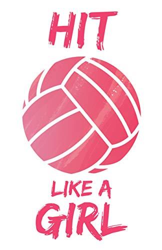 Damdekoli Hit Like A Girl Volleyball Poster, 11x17 inches, Girls Room Wall Art, Court, Bump Set Spike, Kids Decoration Motivational Team Sports
