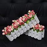 XuanMax 2pcs Roses Kunstblumen mit Zaun Kunstpflanzen mit Topf Künstliche Blumen im Pot Künstliche Pflanzen Gefälschte Topfpflanzen Bonsai Dekoartikel Ornamente 30 * 7.5 * 12cm – Farben Mischen - 8