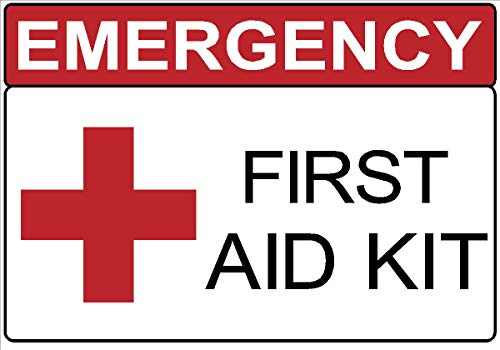 Safety | OSHA | Emergency First Aid Kit Decal Sticker Safety Sign | Made in Texas | (1, 1.75 x 2.50)