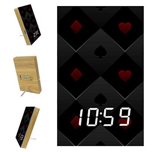 Bennigiry Digitale LED-Uhr Schlummerwecker modern batteriebetrieben freistehend Uhr für Wohnzimmer Schlafzimmer Küche Büro Pokertisch