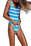 Lovely-Star Damen Badeanzug Einteiler Monokini Sport Bodysuit Strand Badeanzug - Blau - X-Large