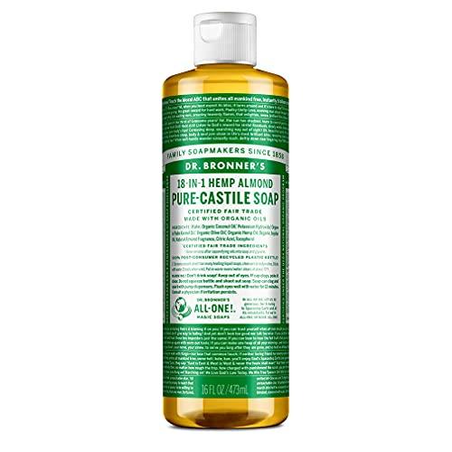Dr. Bronner - Jabón de Castilla líquido orgánico de almendra, 473ml