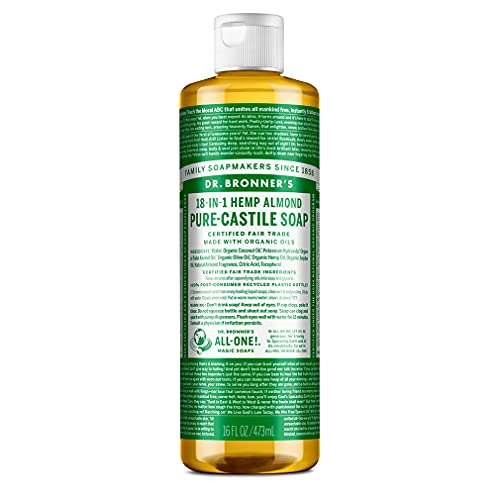 Dr. Bronner's - Pure-Castile Liquid Soap (Almond, 16 oz) - Made with Organic Oils, 18-in-1 Uses: Face, Body, Hair, Laundry, Pets & Dishes, Concentrated, Vegan, Non-GMO