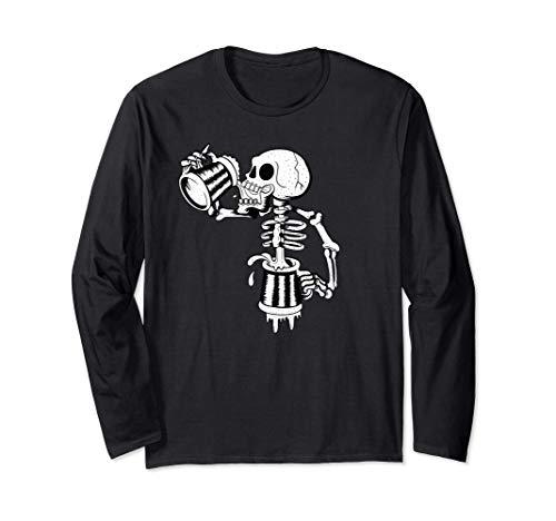 Schädel trinkt viel endloses Bier lustiges Skelett Langarmshirt
