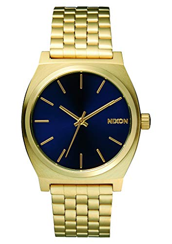 Nixon Time Teller Herrenuhr Analog Quarz mit Edelstahl Armband All Light Gold / Cobalt