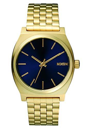 Nixon Reloj Analógico para Unisex Adultos de Cuarzo con Correa en Acero Inoxidable A045-1931-00, Dorado/Azul