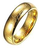 Herrenring - Ring für Herren - Der Herr Der Ringe - Gold Farbe - Lord of The Rings - Ringgröße DE 56 (17.8)