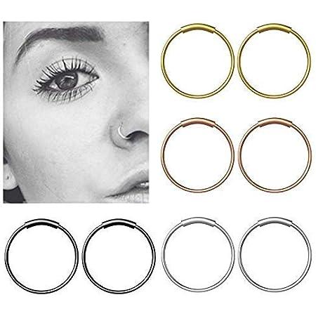 Fullsexy 8pcs Anelli Cerchio di Naso Acciaio Inox Anello Cerniera Cartilagine Piercing Hoop - 8mm 4 Colori