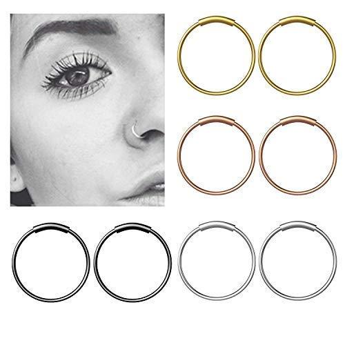 8Pcs Piercing Nariz Anillo Septum Nariz Piercing Clicker Quirurgico de Acero Inoxidable para Hombre y Mujer - 8 mm