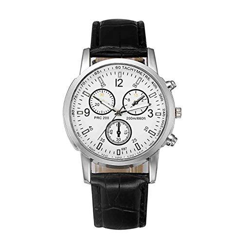 DSNGZ Reloj de Pulsera Reloj clásico de Cristal BLU-Ray Reloj de Moda para Hombre Reloj de Gama Alta con Tres Ojos Reloj con cinturón Plateado Cristal Blanco Cinturón Negro