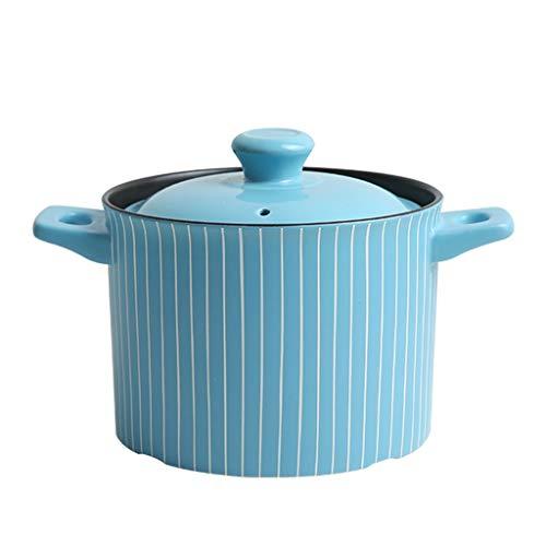 Tdkg Cocotte Ronde en céramique, Grande Casserole avec Deux poignées et Couvercle, idéale for la Cuisson au Four ou au Four, 3,5L-Bleu