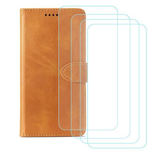 DQG Funda para Alcatel 3X 2020 (6.52'), [4 Tabletas Protector de Pantalla Vidrio Templado] + Leather Carcasa Tapa Bumper PU Caso Soporte Cartera Case Flip Cuero Wallet Cover para - Yellow