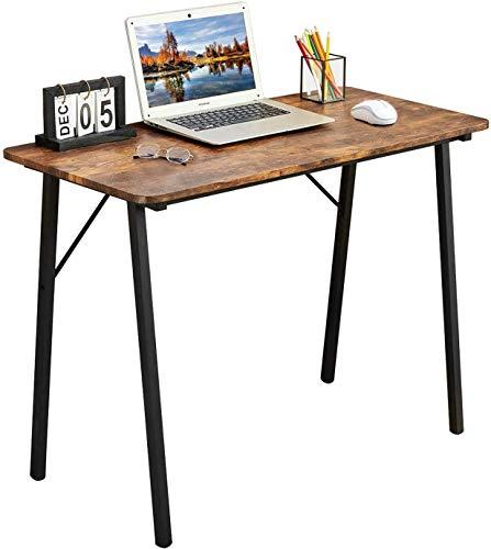 Coavas Schreibtisch Klein Computertisch Bessere Wahl Einfach Modern Büro Arbeitstisch Industrieller Stil Holzfaserplatte und Metallbeinen, 100x48x74cm, Vintage braun