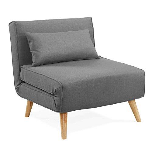 DecoInParis - Sillón convertible, tejido Tonka, color gris