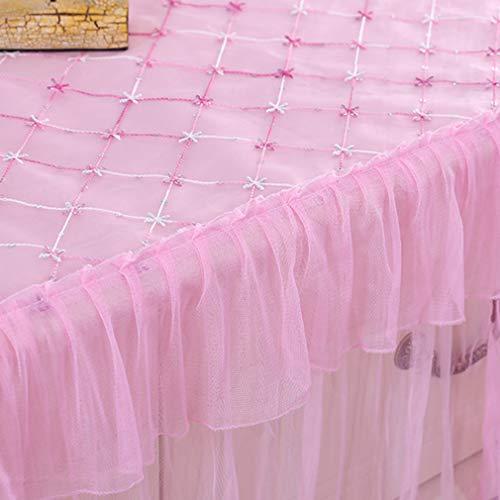 Jixing Pastoral - Mantel rectangular a prueba de polvo, mantel de encaje, color rosa, 140 x 70 cm