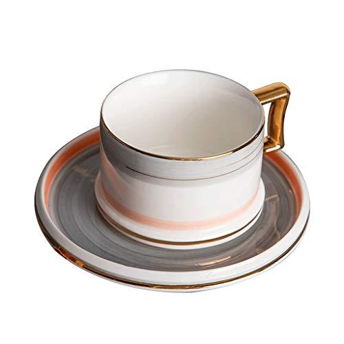 kerryshop Tazas para niños Colgando del oído de cerámica Simple té de la Tarde vajilla Taza de café Exquisito Europeo de Lujo de 200 mL for la Red roja del Viento y platillo Taza fijadas Taza de té