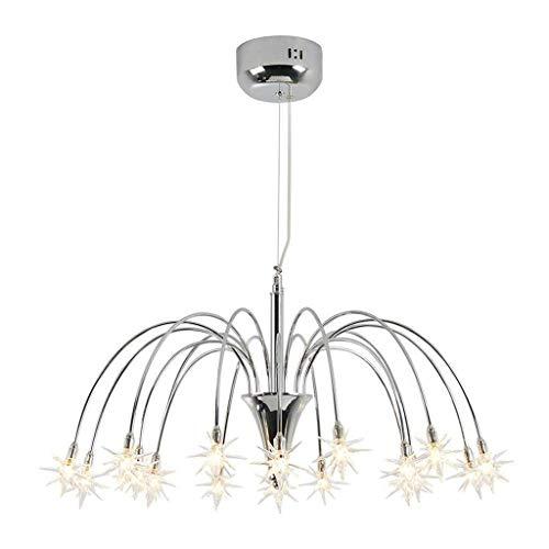 RONGW JKUNYU Lámparas Colgantes llevada Moderna Restaurante Estrella de la lámpara, Simple de la Personalidad Creativa Tienda de Ropa Cafe Araña, luz caliente-65cm (Color : Warm Light65cm)