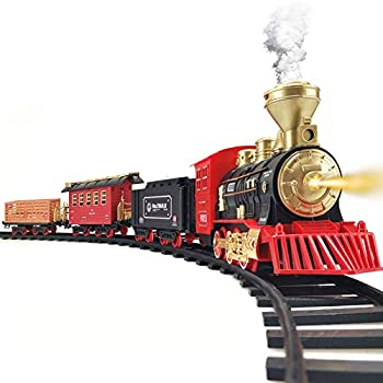 Train Set - Electric Train Toy for Boys Girls w/ Smokes Lights & Sound Railway Kits w/ Steam Locomotive Engine Cargo Cars & Tracks Christmas Gifts for 3 4 5 6 7 8+ year old Kids