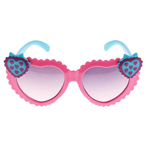 MagiDeal Bambini Occhiali Da Sole A Forma Di Cuore Foto Props - Rosa blu, Taglia unica