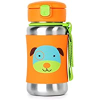 Skip Hop Kids Sippy Cup Stainless Steel Water Bottle With Straw (Dog)