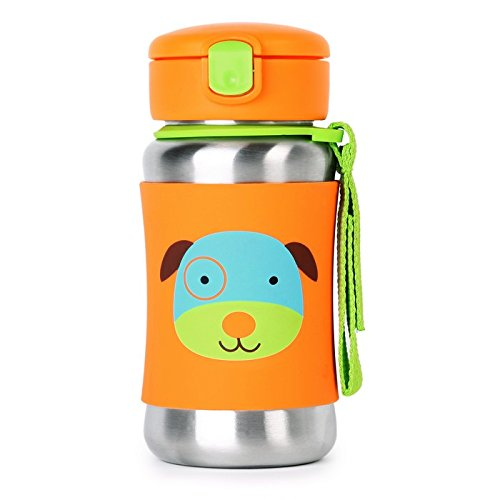 Skip Hop Toddler Sippy Cup Transition Bottle: Stainless Steel Bottle with Straw, Dog