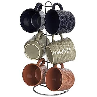 Home Basics Stoneware Coffee Cup Mug Set with 6 Hooks Metal Rack Wire Stand Holder Hanger Organizer, Space-Saving 6 Assorted Colors Tea Coffee Cup & 1 Mug Tree by