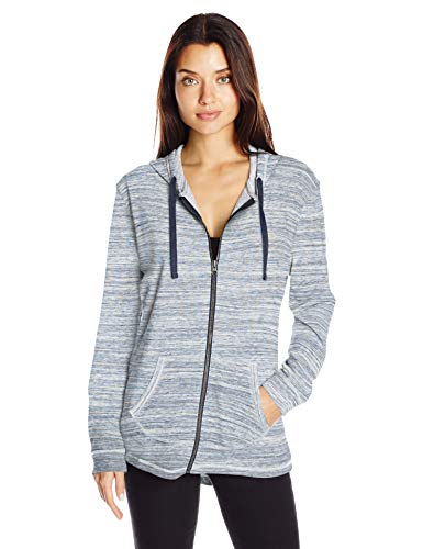 Hanes Women's French Terry Full-Zip Hoodie, Navy Space Dye, Large