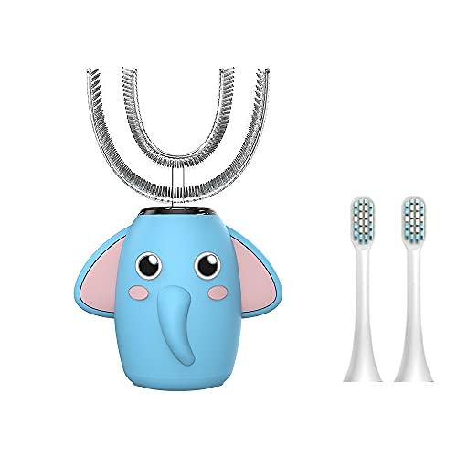 ANMAR U-Shaped Ultrasonic Electric Toothbrush for Kids, Elephant Design with 2 Soft Bristles Heads , IPX7 Waterproof Smart Timer, Rechargeable with 3 Type Cleaning Mode(Ages 7-12,Blue)